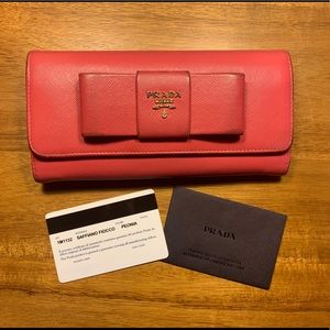 PRADA Saffiano Fiocco Pink Leather Bow Wallet